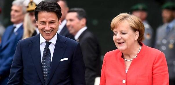 Giuseppe Conte y Angela Merkel