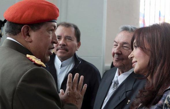 Chávez, CFK, Raúl Castro, Daniel Ortega