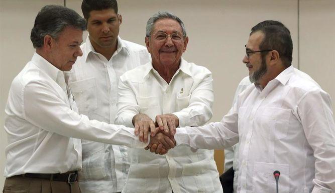 Santos, Timochenko, Raúl Castro