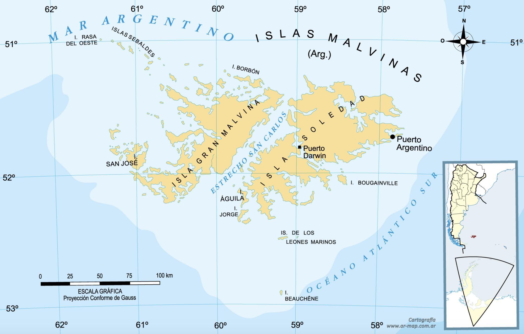 Islas Malvinas, Mapa