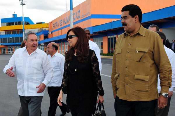 Raúl Castro, Nicolás Maduro, Cristina Kirchner