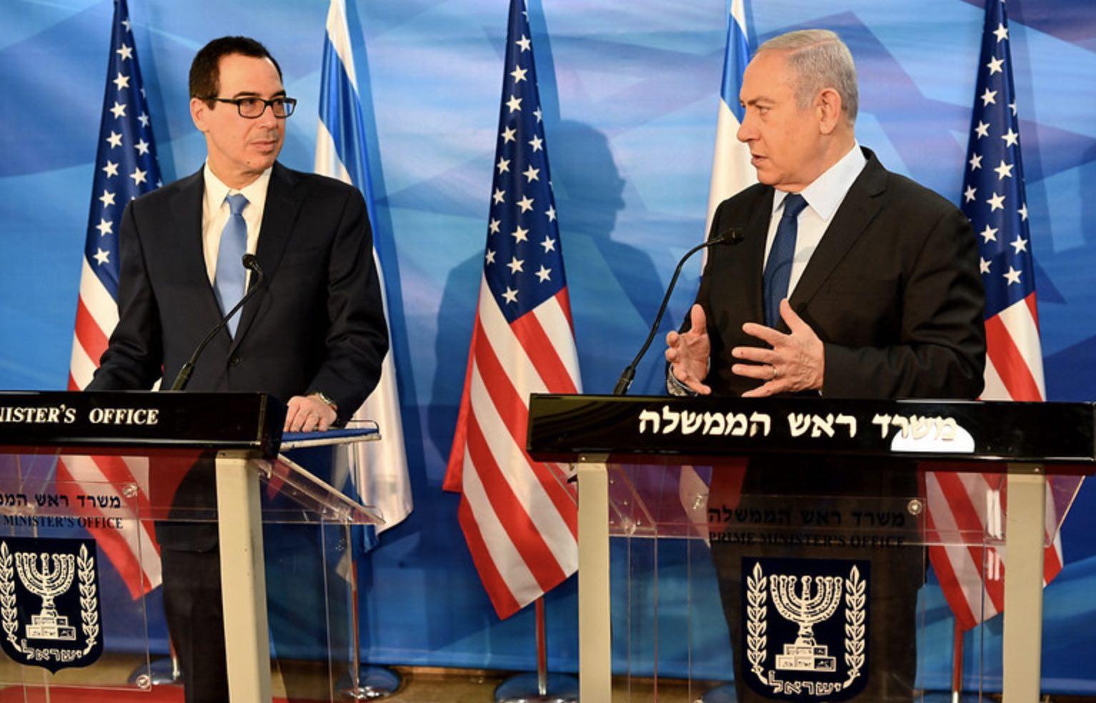 Steve Mnuchin y Benjamin Netanyahu