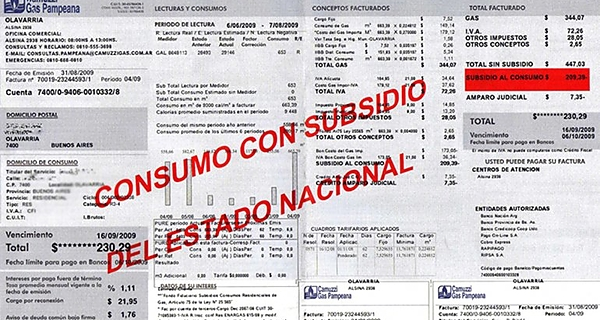 Subsidios, tarifas, Argentina